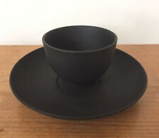 Vintage Wedgwood Jasperware Matte Black Basalt Asian Tea Coffee Cup + Saucer