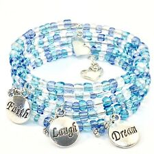 BRACELET Memory Wire Blue Seed Beads Stylish Everyday Wear Classic Handmade
