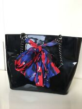 DKNY MARLOWE HANDBAG TOTE SATCHEL BAG PATENT BLACK RED BLUE SCARF CHAIN LINK