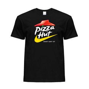 New Funny Pizza Hut Parody Graphic Logo Printed Tee Crew Neck Cotton T-shirt