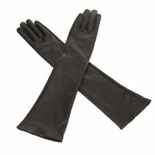 Frauen reine Farbe lange Kunstler Handschuhe schwarz I1k6