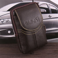 Men Genuine Leather Wallet Waist Phone Case Card Holder Zipper Belt Vintage Bag