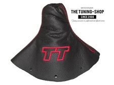 """For Audi TT 1998-2006 Gear Gaiter Black Leather """"TT"""" Red Embroidery"""