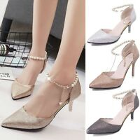 Women Stiletto Sandals Pointy Toe Ankle Beaded Chain Strap High Heels Shoes HOT