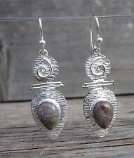 """Pilbara Jasper Gemstone 925 Silver Designer Dangle Earrings Pear Setting 2.34"""""""