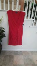 CHAPS Womens  Faux Wrap Side Ruffles Stretch Red Sleeveless Dress Size XL