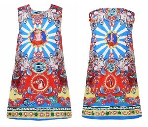 Girls Kids Childs Shift Trendy Italian Sicilian High Fashion Xmas Dress 2-3 Yrs