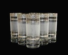 6 Wassergläser, Dekor Karo, Bohemia Kristallglas, Handbemalt in Platin, Neu