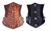 Brown or Black brocade steampunk style steel boned underbust corset.
