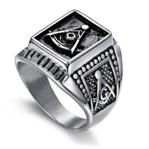 New Men's Masonic Rings Stainless Steel Vintage Square Freemason Ring Biker Punk