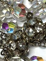 "† VINTAGE STERLING CLEAR RONDELLE PATERS AB CRYSTAL ROSARY ROSARIO 30"" NECKLACE†"
