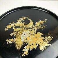 "Otagiri Japan Platter Tray Decorative Black Gilded Peacock Bird 14"" Round VTG"