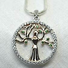 Earth Goddess Pendant 925 Silver + Gold Green CZ Mother Nature Wicca Reiki Pagan
