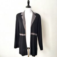 Exclusively Misook Cardigan Jacket Open Front Size Small Black Gray Oversize