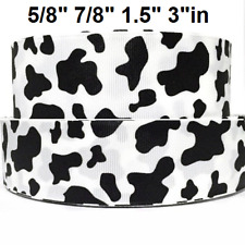 "Grosgrain Ribbon 5/8"", 7/8"", 1.5"", 3"" Cow Spots Cw2 Printed Combine Shipping"