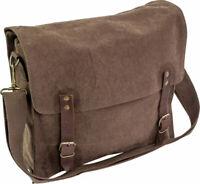 Dark Brown Washed Canvas Satchel Vintage Army Style Messenger Shoulder Bag