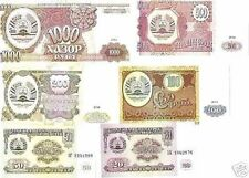 Tadjikistan Set of 6 Uncirculated Banknotes