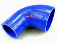 ID 4''-3''inch 102mm-76mm 90Degree Silicone Elbow Reducer Intake Turbo Hose BLUE