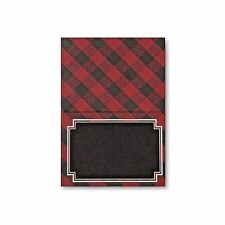 Place Cards Black and Red Plaid Black Chalk Board Name Place Pack 36