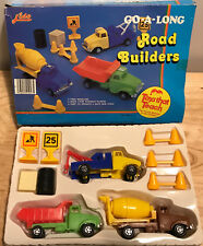 Vintage LIDO Go-A-Long ROAD BUILDERS Plastic Toy SET HONG KONG 1984 Ages 4-7
