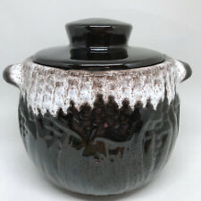 Royal Canadian Art Pottery Bean Crock Brown White Glaze Drip 48oz Oven Use Vtg