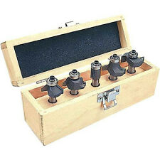 "5 Pc Carbide Tipped Router Bit Set 1/2"" Shank Multi-Purpose + Wood Case New"
