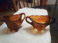 Vtg Indiana Glass Dark Amber Cream and Sugar Set Pear Leaf Pattern