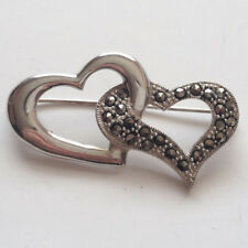 WS: Sterling silver DOUBLE OPEN HEARTS shape pin brooch with marcasit... Lot 51D
