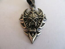 NEW PEWTER HELL RAISERS PAIN & ECSTASY SKULL NECKLACE WITH ADJUSTABLE BLACK CORD