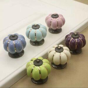 Ceramic Door Knobs. Vintage Pumpkin Style. 6 Classic Colours. Drawer Pulls.