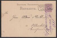 30954) BÄRENWALDE BEI KIRCHBERG nachverwendeter Sachsen Stempel 1883 Postkarte