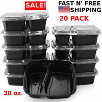 20 Pack Meal Prep Containers Food Storage Reusable Microwave Safe 2 Compartment