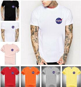 Herren Damen NASA Space Mars Astronaut T-Shirt Kurze Ärmel Kurzarm Rundhals Tee