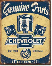 CHEVY PARTS - PISTONS - LARGE METAL TIN SIGN 40.6CM X 31.7CM GENUINE AMERICAN