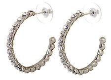 Swarovski Elements Crystal Recreation Hoop Pierced Earrings Rhodium Plated 7201y