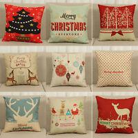 """Christmas Xmas Linen Cushion Cover Throw Pillow Case Home Decor Festive Gift 18"""""""