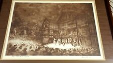 Outdoor Elizabethan Theater Stage Play Matted Framed Art Under The Stars Signed