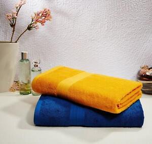 2 Piece 100% Cotton  Bath Towel Set, 500 GSM  ( Iris Blue and Sunshine Yellow )
