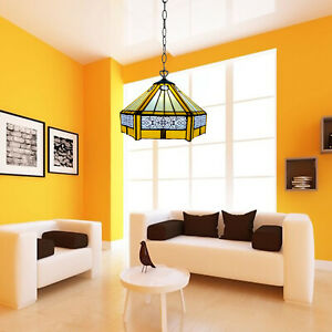 """Yellow Luxury Tiffany Style 10"""" Pendant Lamp Handcrafted Lamps Stained Glass UK"""