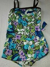 BATHING SUIT W/MULTI COLORED FLORAL DESIGN BY MAXINE OF HOLLYWOOD.  - NWOT