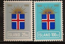 ICELAND 1969 FLAGS RISING SUN SC # 408-409 MNH