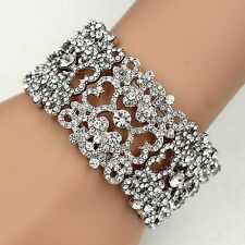 Silver Tone Clear Crystal Bridal Wedding Bangle Cuff Stretch Bracelet 00001