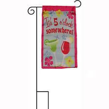 """12x18 It's 5 O'clock Somewhere Martinis Sleeved w/ Garden Stand 12""""x18"""" Flag"""