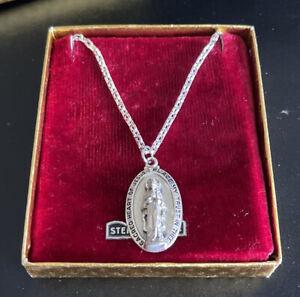 VTG Sacred Heart of Jesus Our Lady of Mount Carmel Prayer Sterling Silver Medal