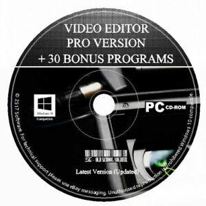 Professional Video Editor Movie Maker Trim, Cut, Split, Slideshow DVD Maker PC