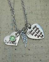 Personalized Memorial Angel Wing Necklace gift Name Birthstone loss Boy Girl