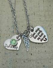 Personalized Memorial Angel Wing Necklace gift Pregnancy Infant loss Boy Girl