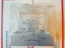 New In Box Merry Christmas Glass Plaque 22 Kt Gold Hand Sculpted Collectible