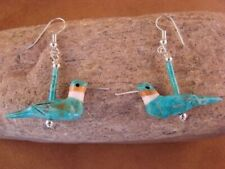Hand Carved Turquoise Hummingbird Fetish Earrings by Matt Mitchell!