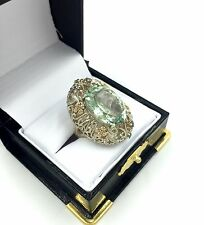 Sterling Silver 14K Gold Diamond Prasiolite Green Amethyst Filigree Lady's Ring